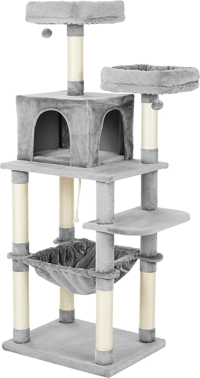 Frisco 64 In Cat Tree With Hammock Condo 2 Top Perches With Bed Gray Chewy Com Hammock Cat Tree Extra Large Basket