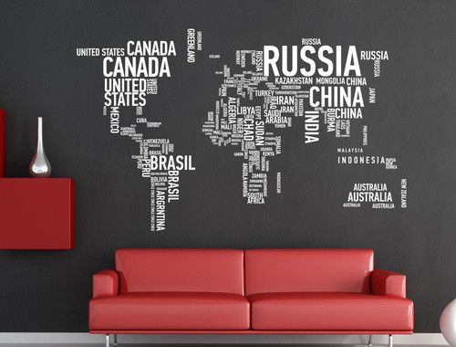Wall art decal sticker world map of country names ebay decor wall art decal sticker world map of country names ebay gumiabroncs Images