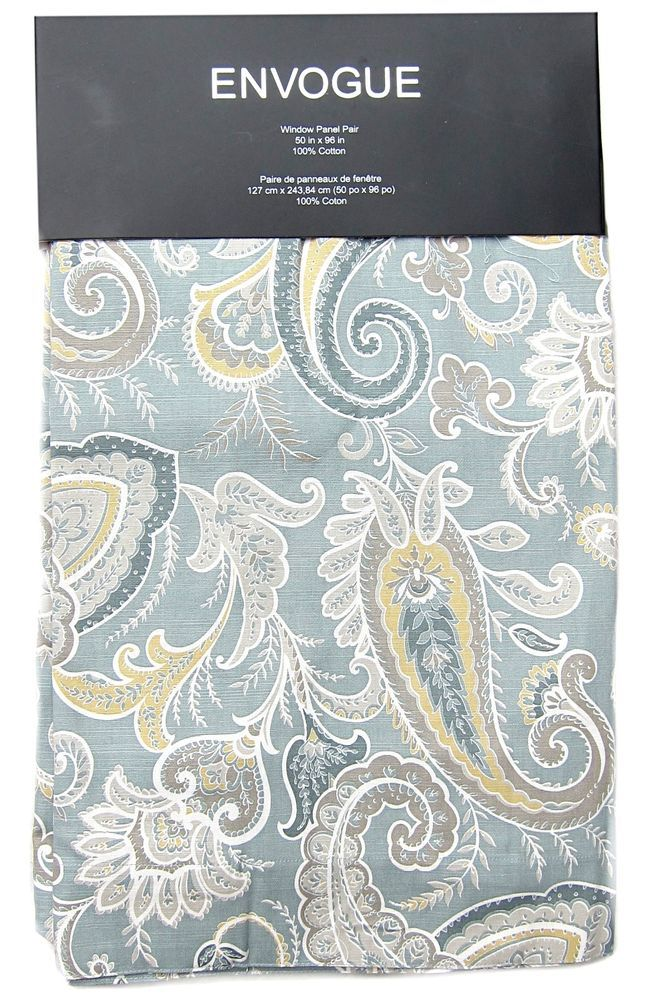 ENVOGUE Paisley Window Curtain Panels Set Of 2 Drapes Pair 96 Teal Gray Yellow