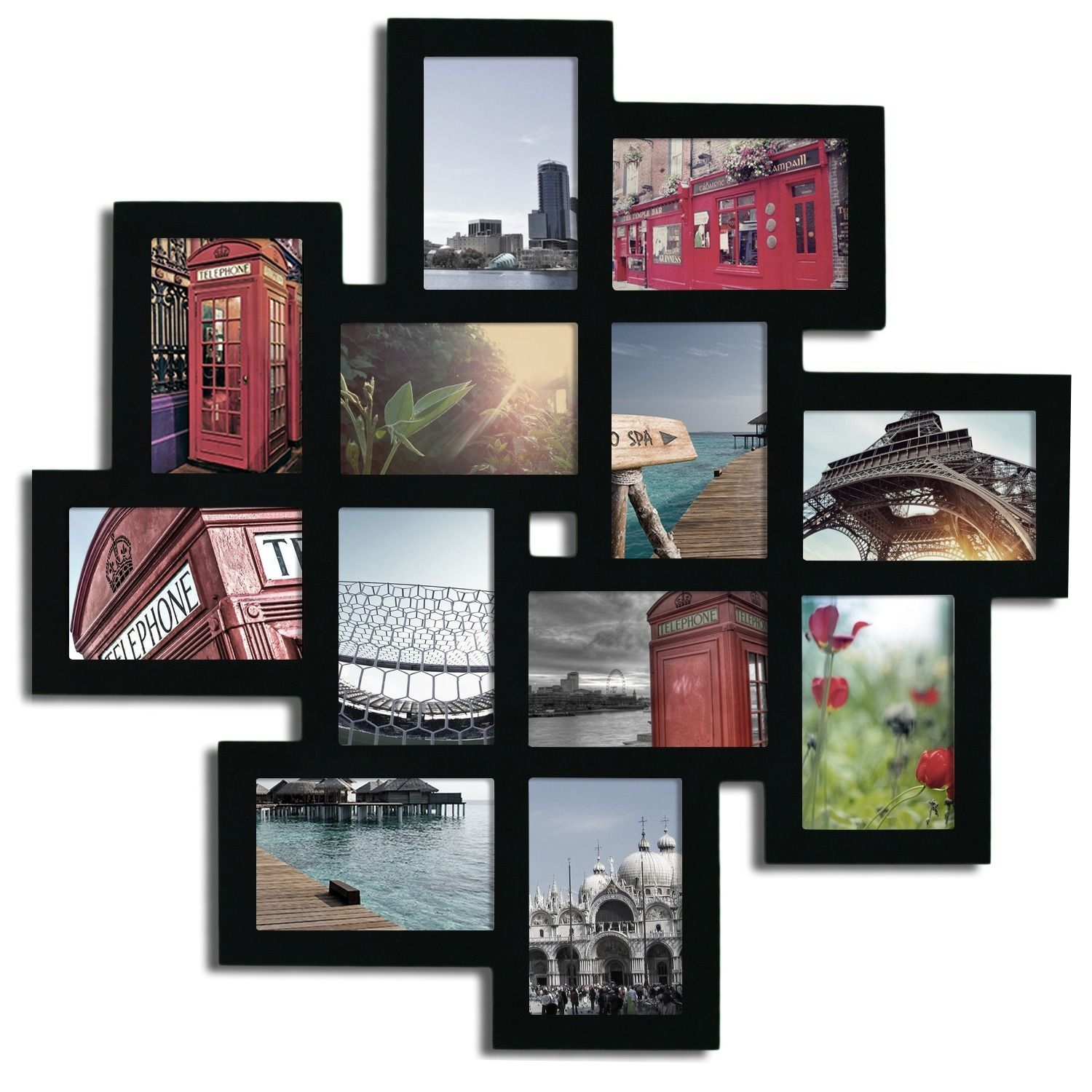 Adeco 12-opening Wooden Wall Collage Photo Picture Frame Wall Art ...