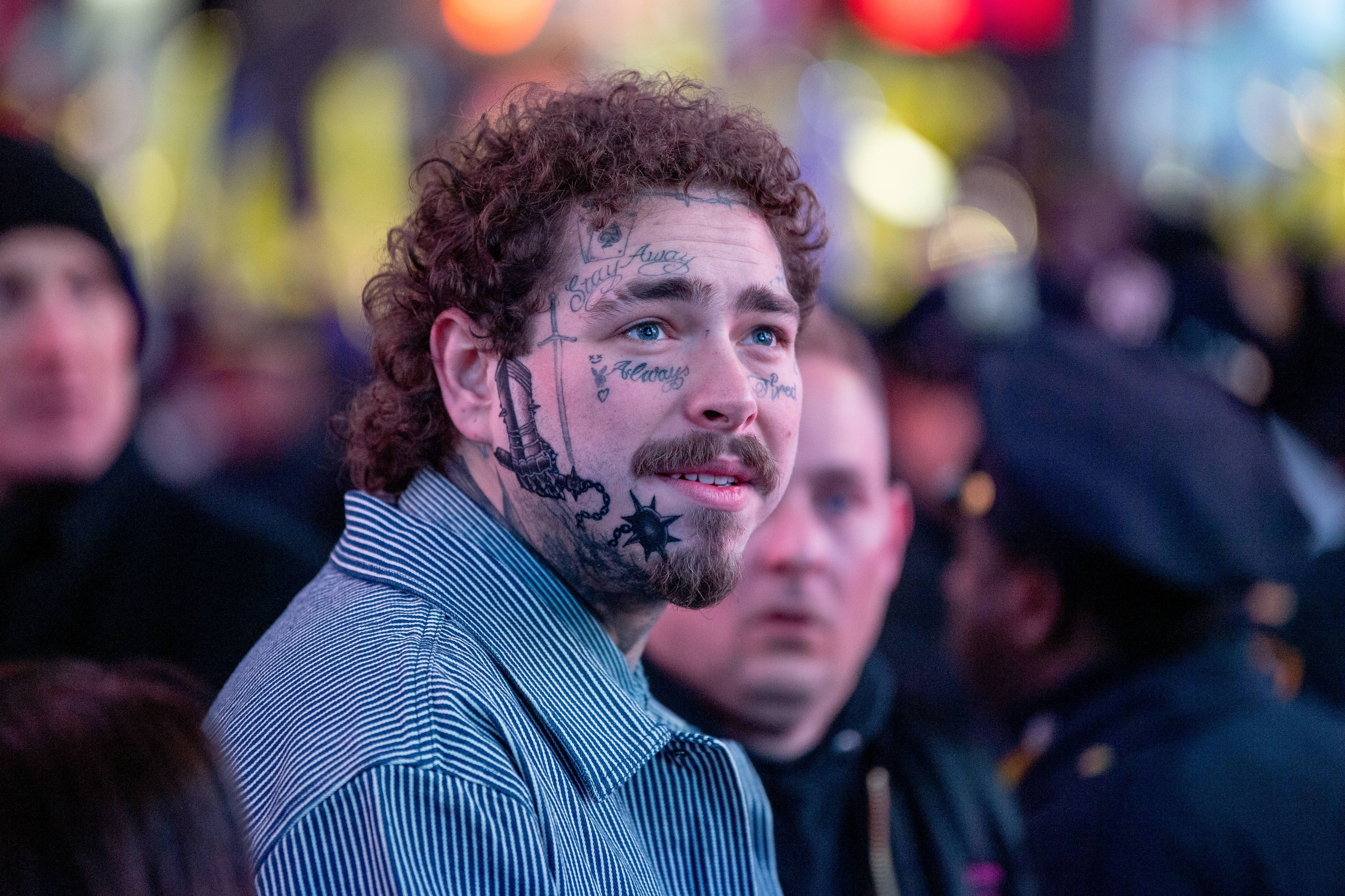 Post Malone shows off new face tattoo in 2020 New face