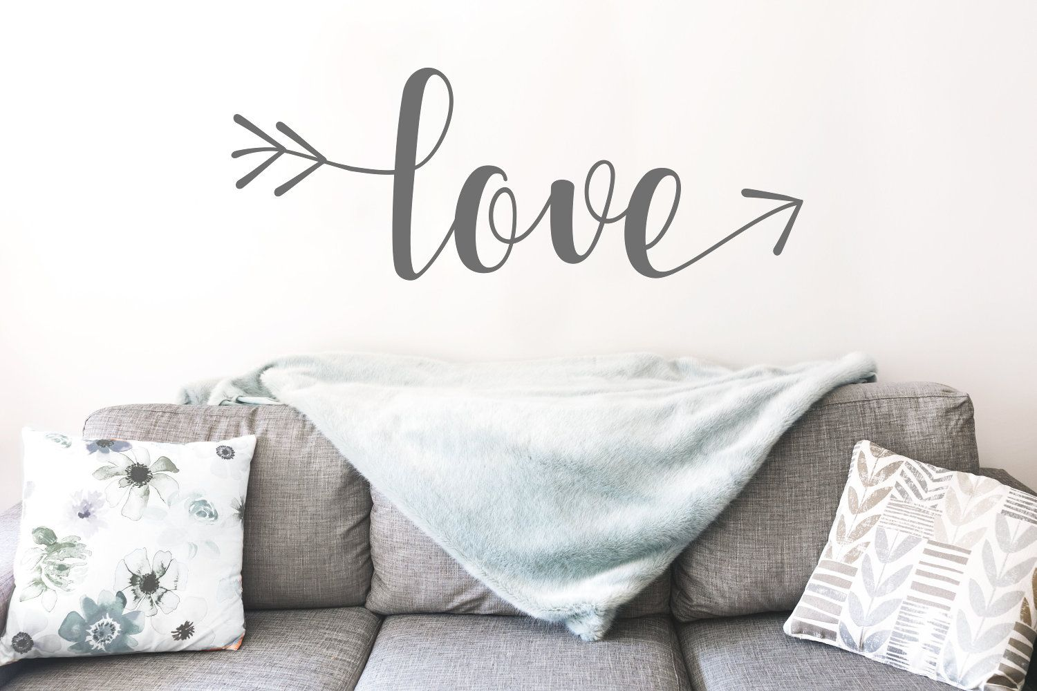 Love arrow wall decal over the bed wall decor master bedroom