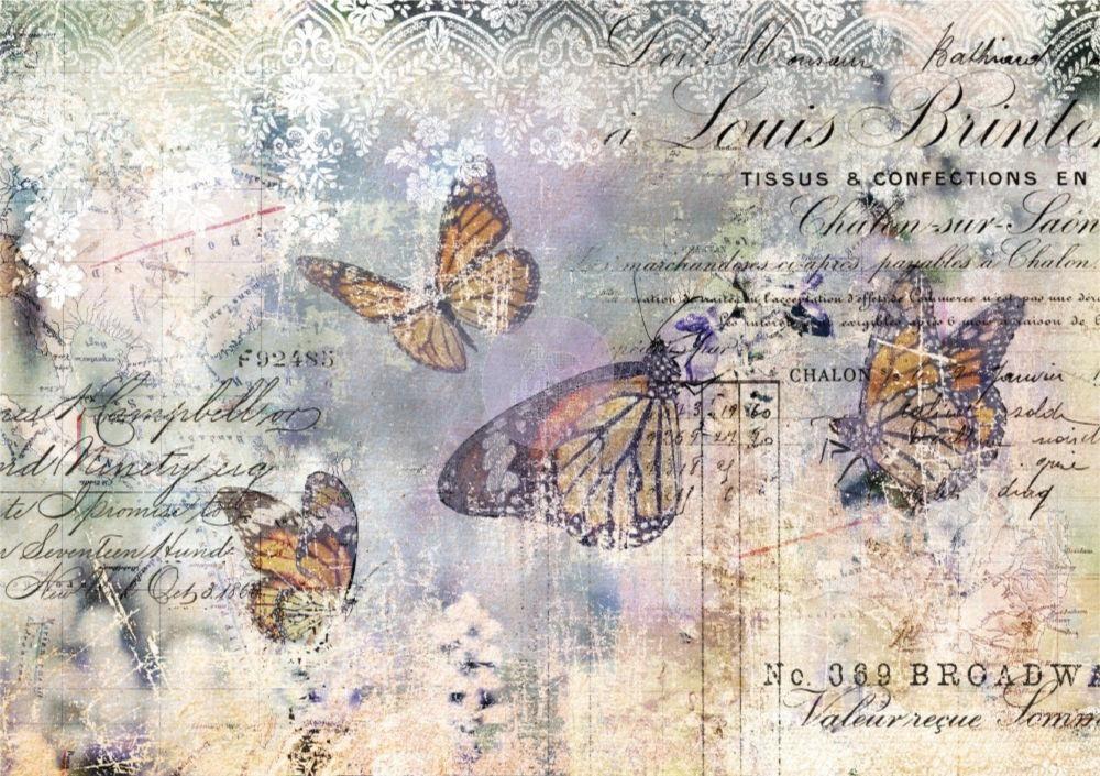 ENGLISH Rose Lace /& FARFALLA DECOUPAGE FOGLIO 1 x A4