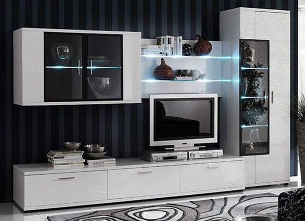 wohnwand wei hochglanz modern vom designer h ngend. Black Bedroom Furniture Sets. Home Design Ideas