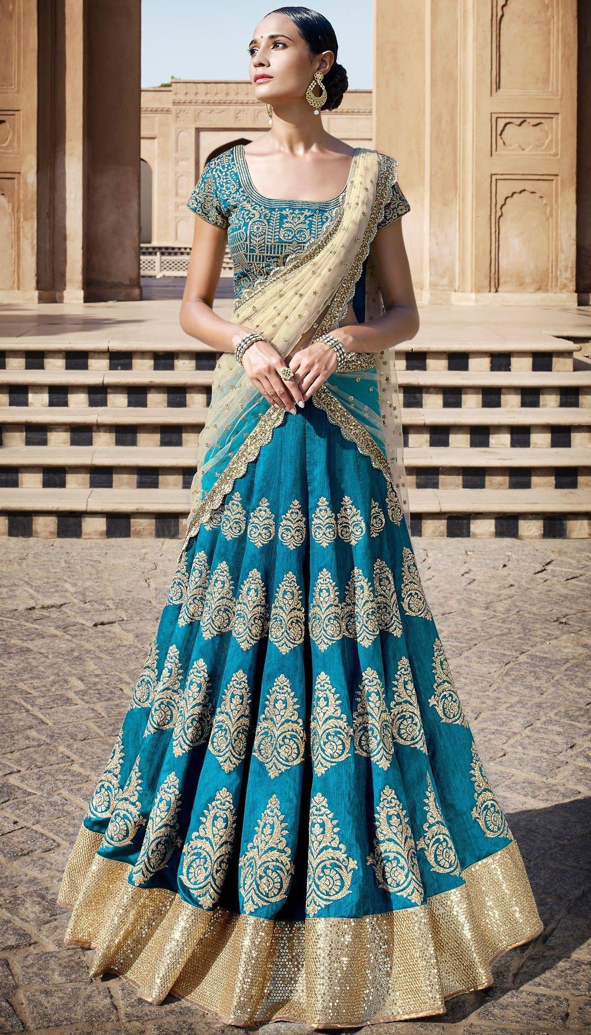 Blue Bhagalpuri Silk Zari Embroidered Beautiful Lehenga With Net ...