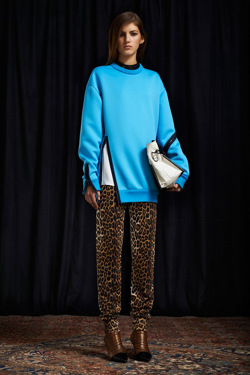A Pop of Turquoise Sweater 3.1 Phillip Lim Pre-Fall #fashion