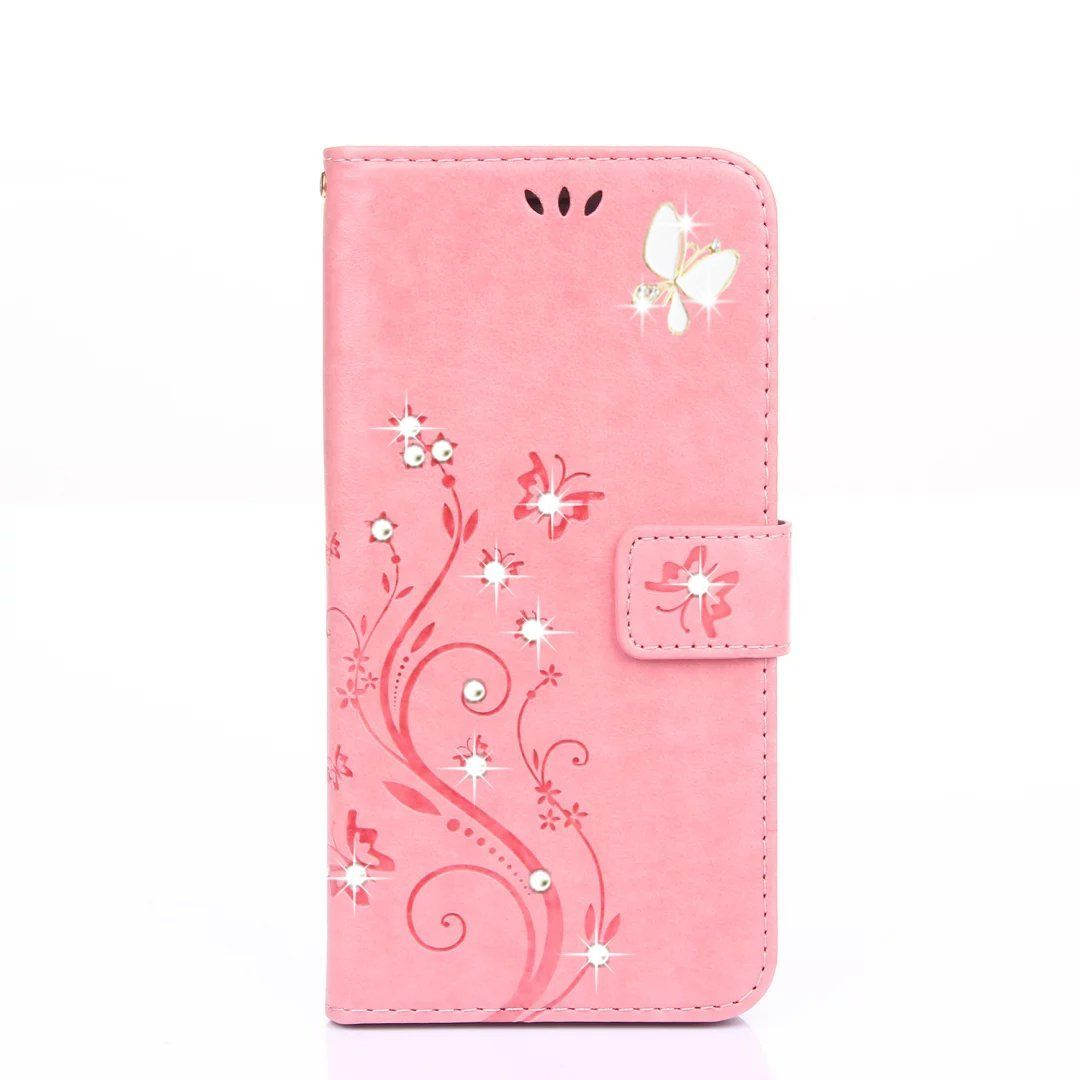 HAOTP Beauty Luxury 3D Fashion Handmade Bling Crystal Rhinestone Butterfly Floral PU Flip Stand Credit Card ID Holders Wallet Leather Case Cover for Samsung Galaxy A5 2014 (Bling/Pink) >>> Wow! I love this. Check it out now! : DIY : Do It Yourself Today