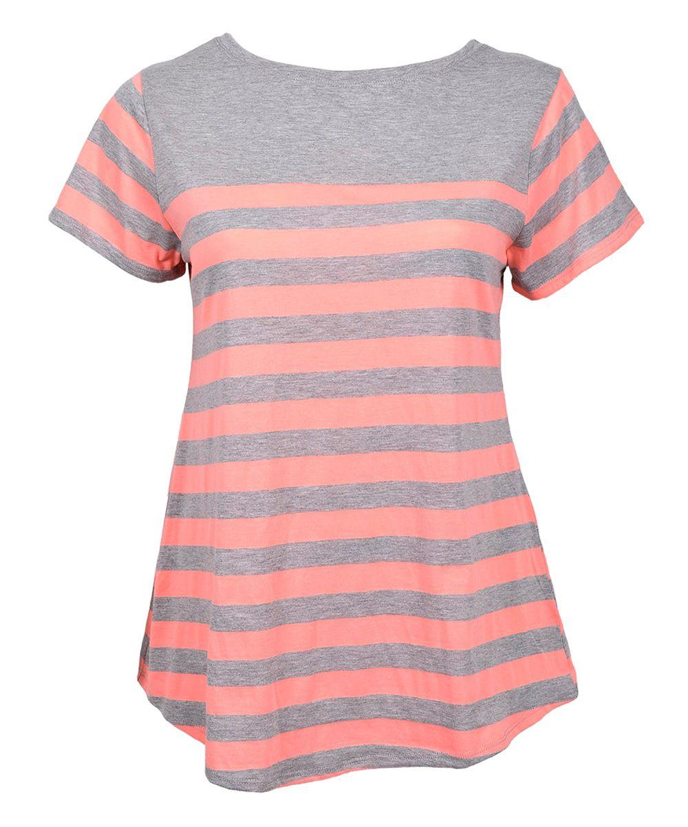 Gray & Coral Stripe Curved-Hem Tee - Plus