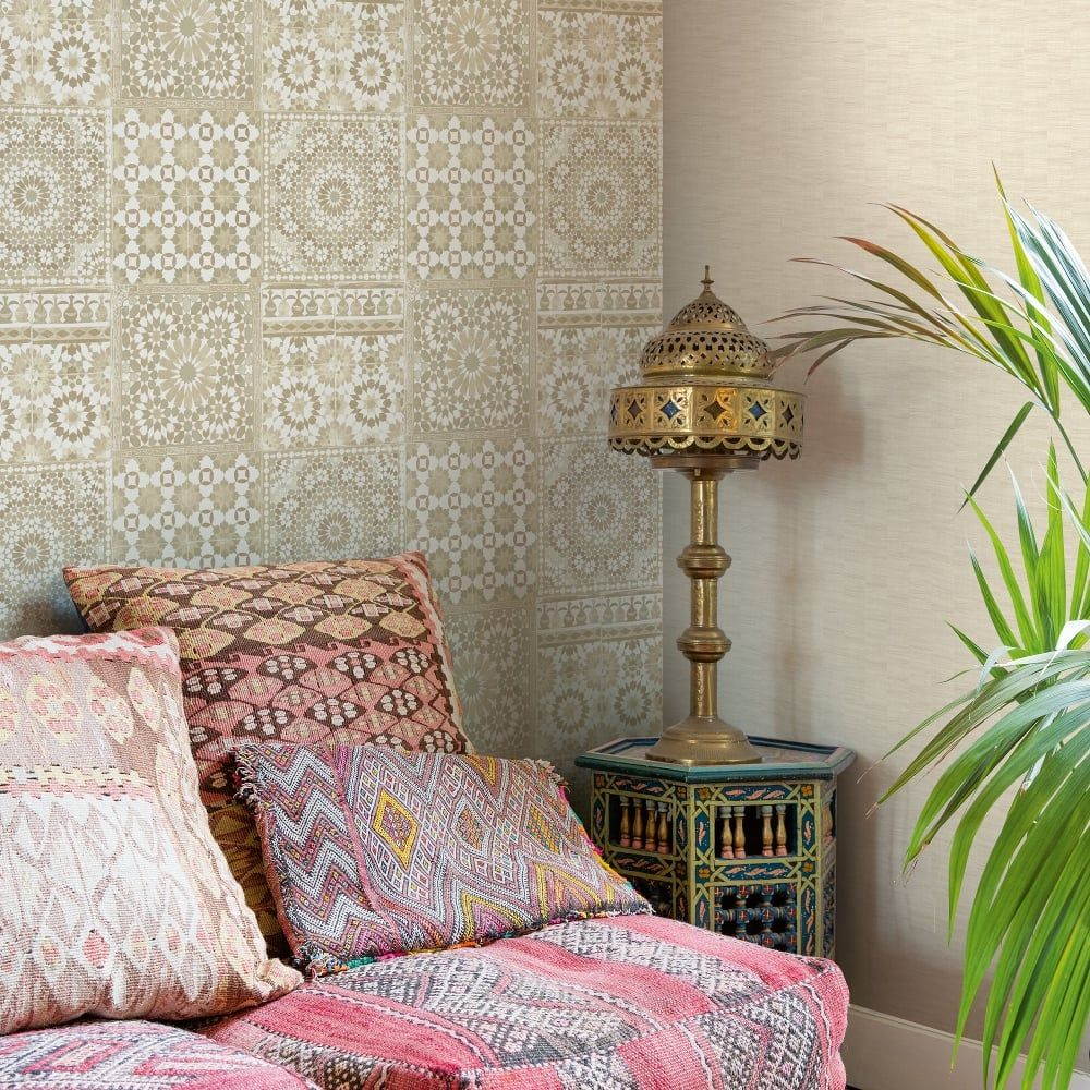 Grandeco Botanical Moroccan Tile Pattern Wallpaper Retro Floral Ba2501 Tile Bedroom Floral