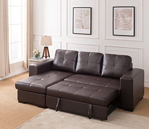 Peachy Dark Brown Leather Corner Sofa With Pull Out Sofa Bed Rh Unemploymentrelief Wooden Chair Designs For Living Room Unemploymentrelieforg