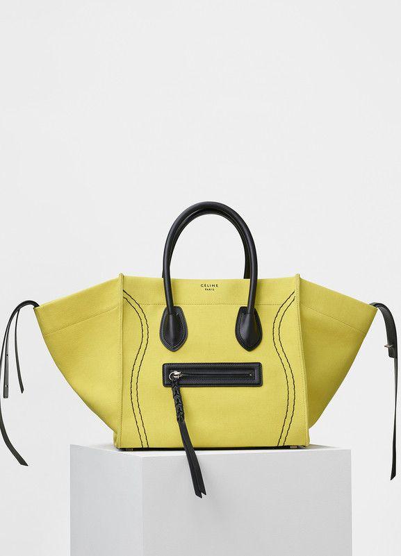 57788e012c0b Medium Luggage Phantom Handbag in Washed Canvas - Céline
