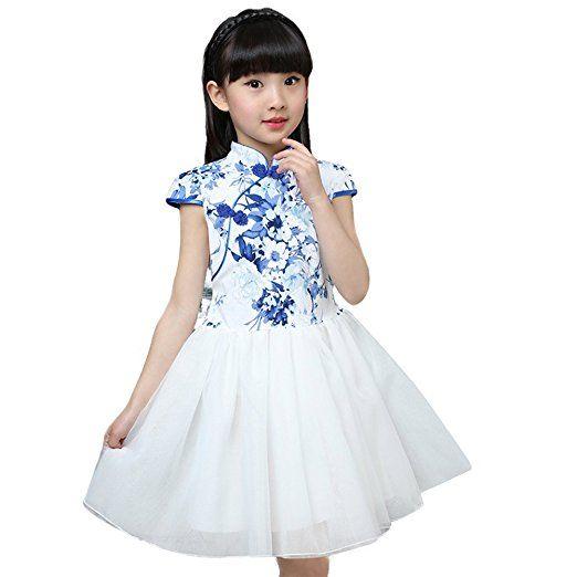 Amazon.com: Tortor 1Bacha Little Girls Floral Cheongsam Chinese Qipao Bodice Tulle Dress: Clothing