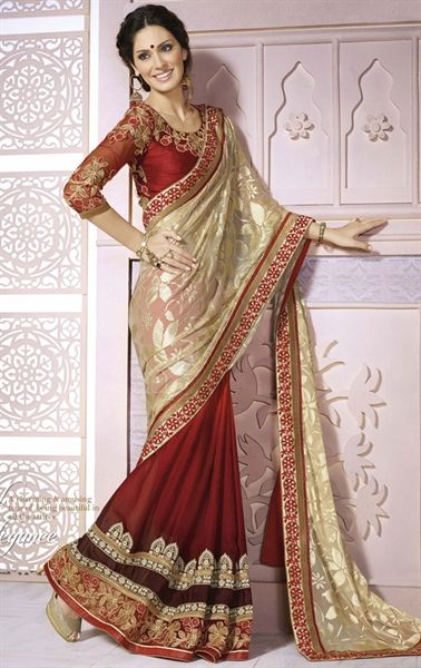 f8d01b1d87 Awesome Off White and Red Color Saree for Wedding | Designer Wedding ...