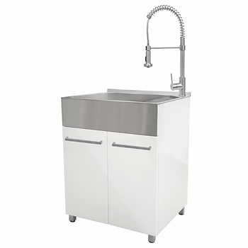 Transform 28 In Laundry Cabinet With Stainless Steel Sink Pull Down Faucet Stainless Steel Sinks Stainless Steel Utility Sink Stainless Sink