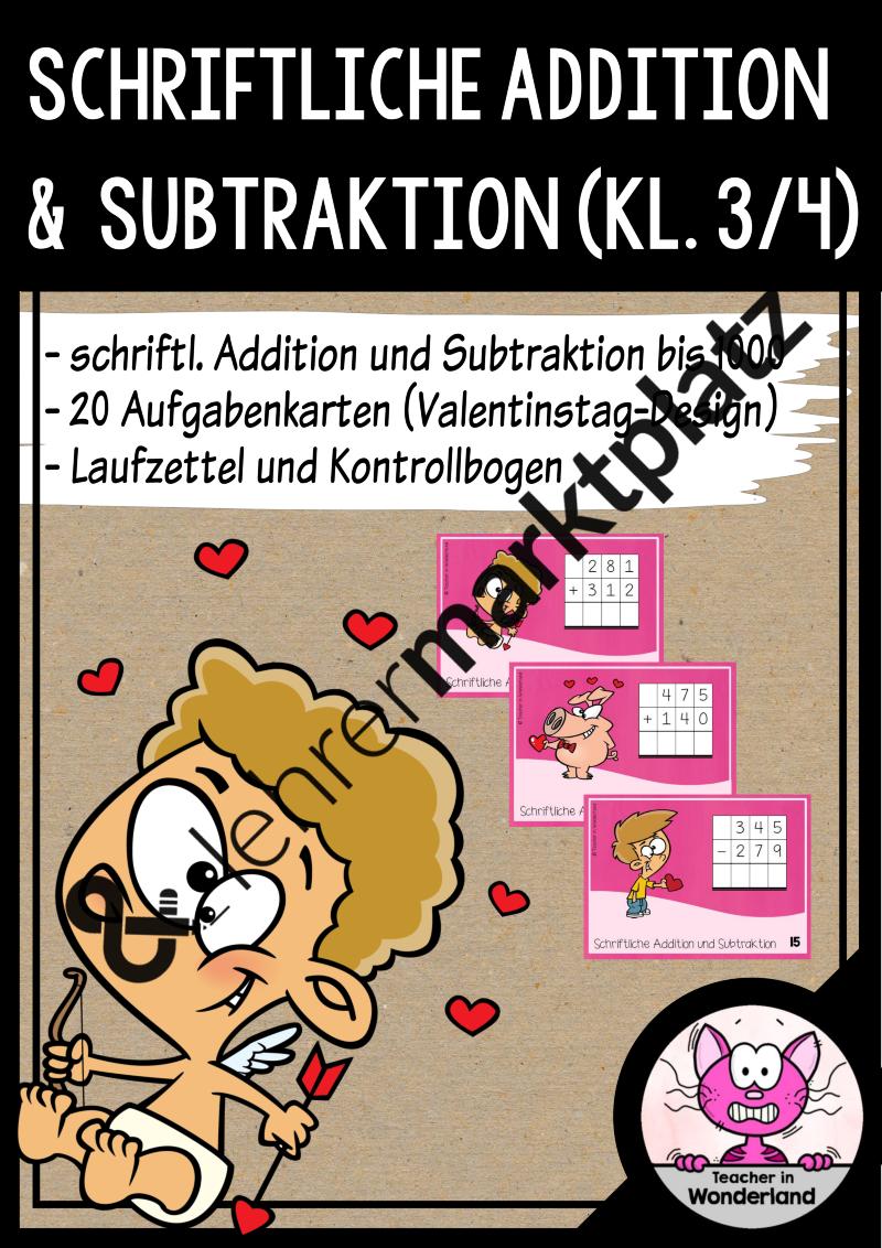 Schleichaufgaben: Schriftliche Addition und Subtraktion im ...