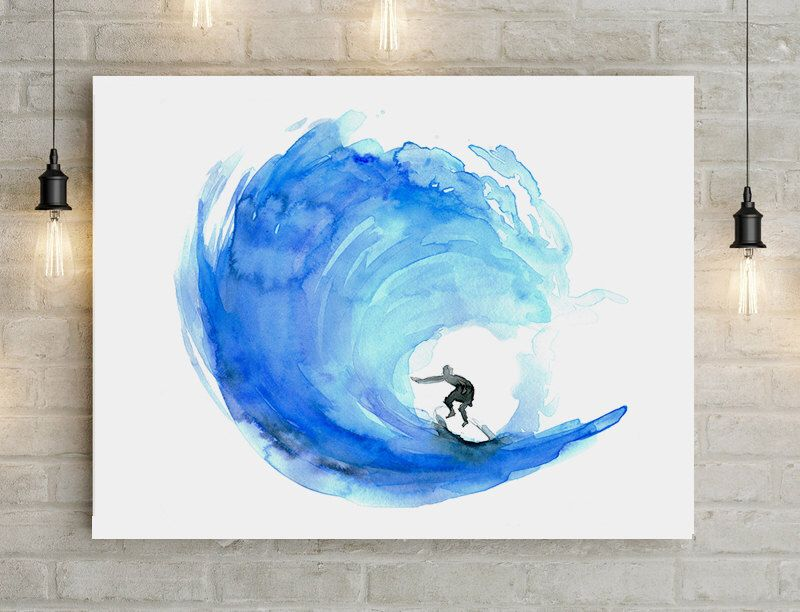 Surf art wave watercolor painting poster print big for Watercolor easy ideas