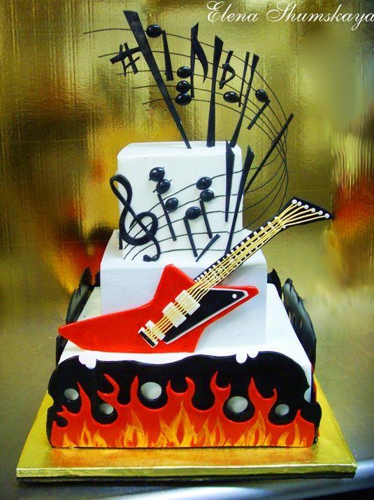 Rock N Roll Cake Dad S Bday Pinterest Pastel De Cumpleanos