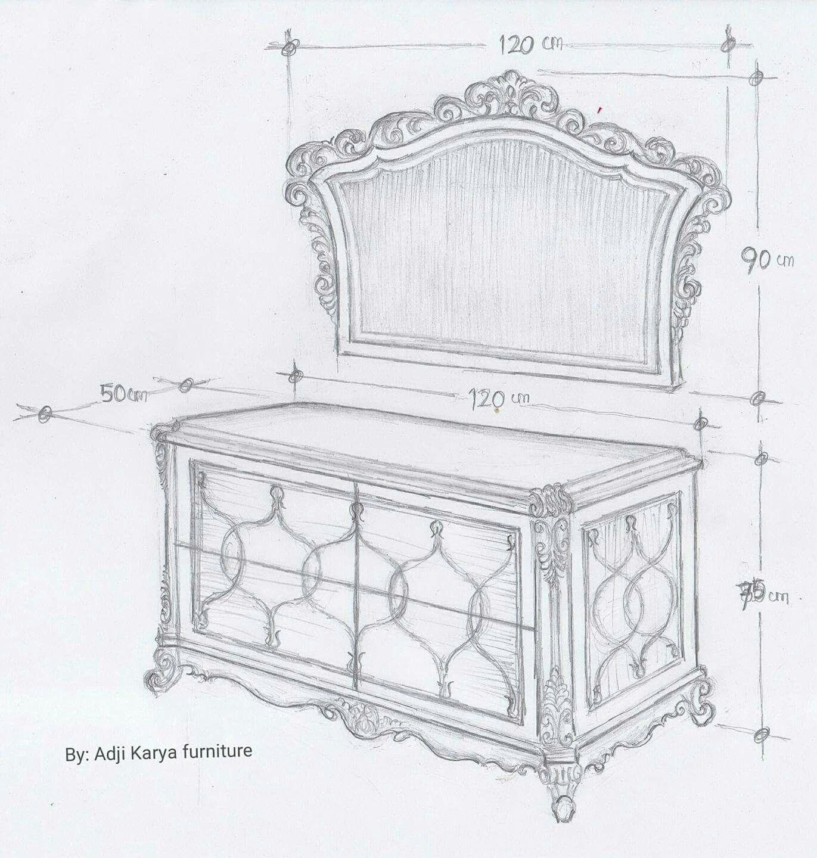 Sketsa Desain Meja Rias Jepara Furniture Costum Decor Furniture