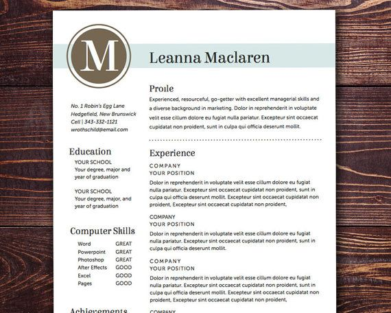 Resume Template - The Maclaren Resume Design Instant Download - downloadable resume templates word