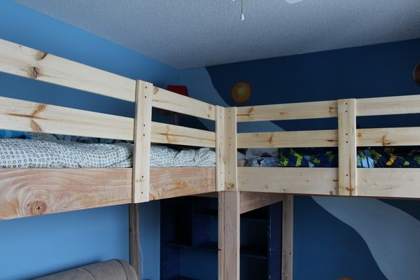 DIY Project: L Shaped Loft Bed For Two, Inspired By Ana White