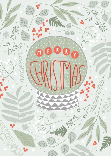 Rebecca Prinn - RP Snowglobe Foliage Text Christmas Greeting Card