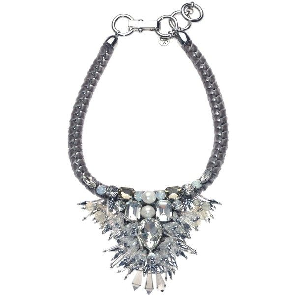Filini Collection Leonore Swarovski Cristals and Pearls Statement... (€150) ❤ liked on Polyvore featuring jewelry, necklaces, accessories, grey, beaded necklaces, grey statement necklace, boho necklaces, pearl jewellery and pearl necklace