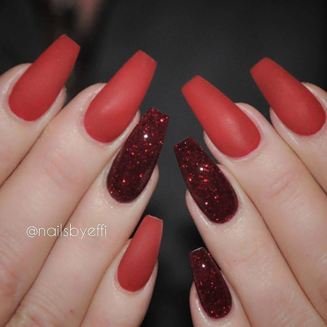 Instagram media by nailsbyeffi , Red Matte with glitter