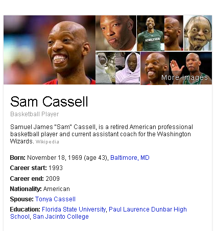 """Samuel James """"Sam"""" Cassell, is a retired American professional basketball player and current assistant coach for the Washington Wizards."""