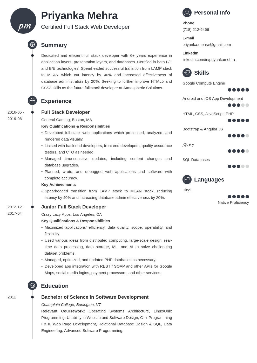 Full Stack Developer Resume Example Template Primo Full Stack Developer Resume Examples Job Resume Examples