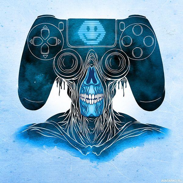Страшное лицо в виде геймпада современной консоли ...