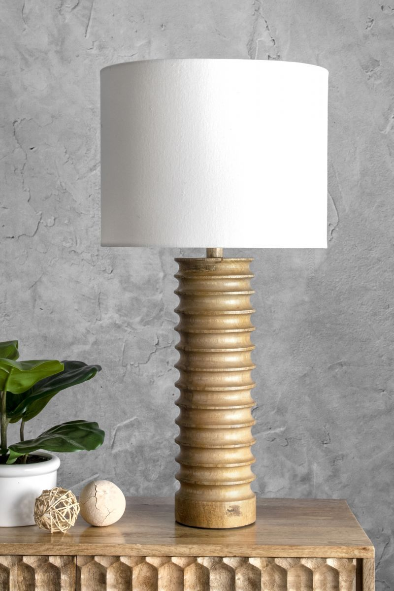 Revere 25inch Andromeda Wood Spiral Cotton Shade Table