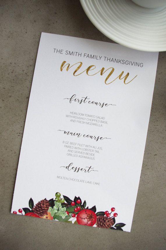 Holiday Menu Printable Template Diy Festive Menus For Winter Or