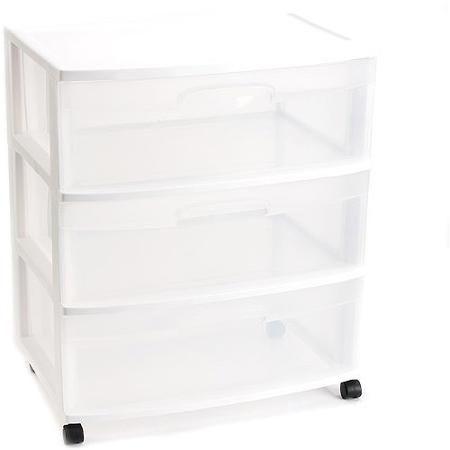 Sterilite 3 Drawer Wide Cart White Walmart Com Storage Bins