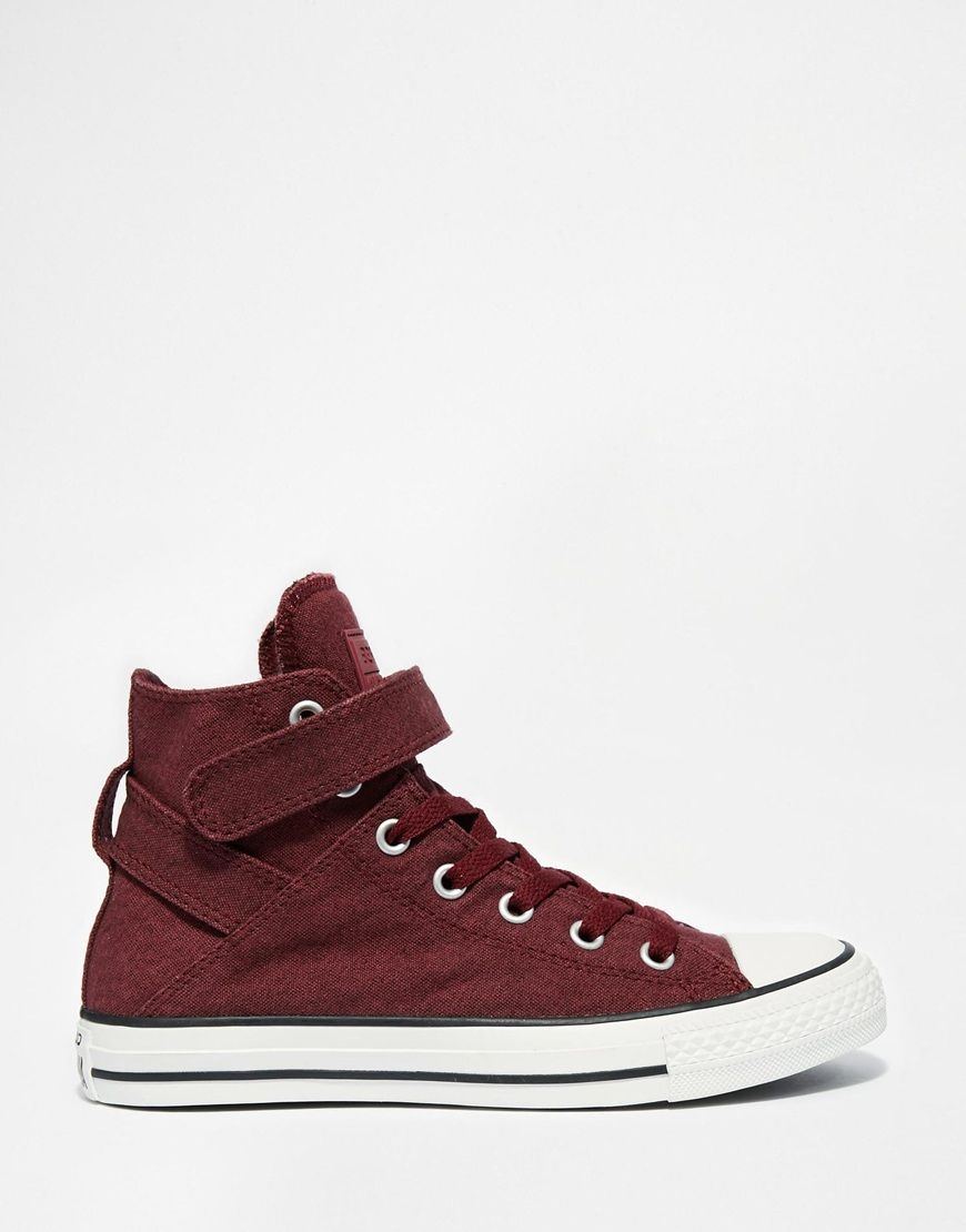 Image 1 of Converse Burgundy Canvas Chuck Taylor All Star High Top Trainers 1da1aeec6