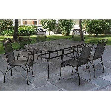 Mainstays Jefferson Wrought Iron 7 Piece Patio Dining Set Seats 6