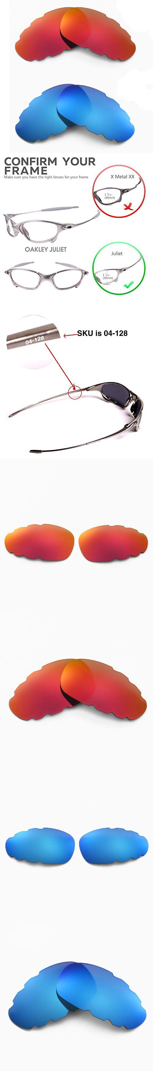 37e95c2f87 New Walleva Polarized Fire Red + Ice Blue Vented Lenses For Oakley Juliet