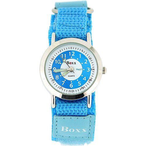 Boxx Girls Time Teacher Analogue Blue & White Dial Velcro PU Strap Kids Watch