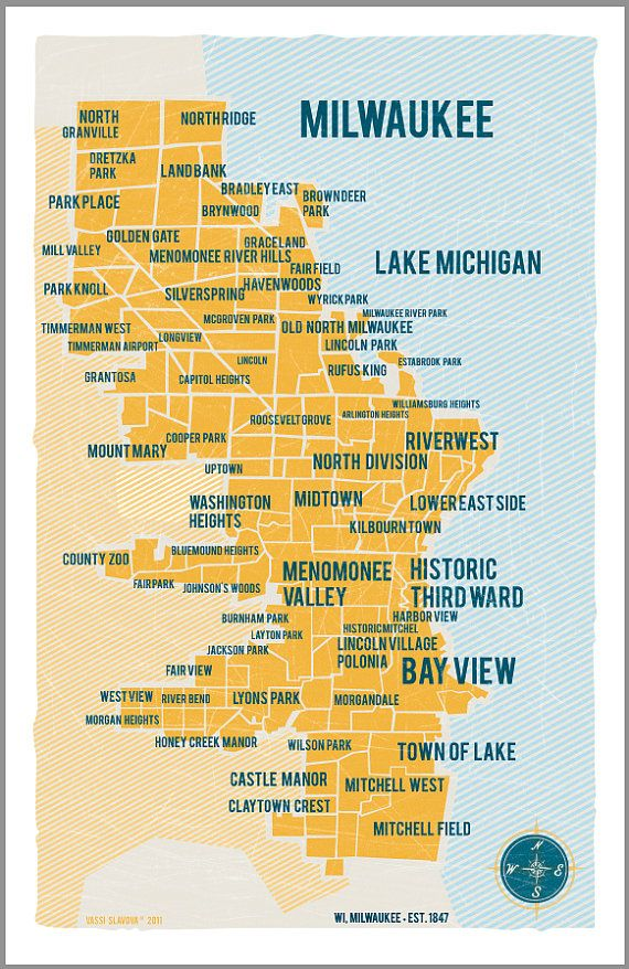 Milwaukee Map Poster In Yellow Vintage Style Print 11x17 Overused Words Educational Infographic Linkedin Marketing