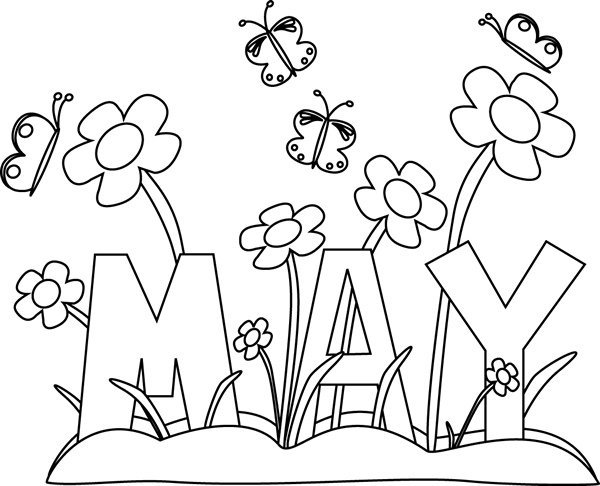 printable may flowers coloring pages | Black and White Month of May Flowers Clip Art - Black and ...