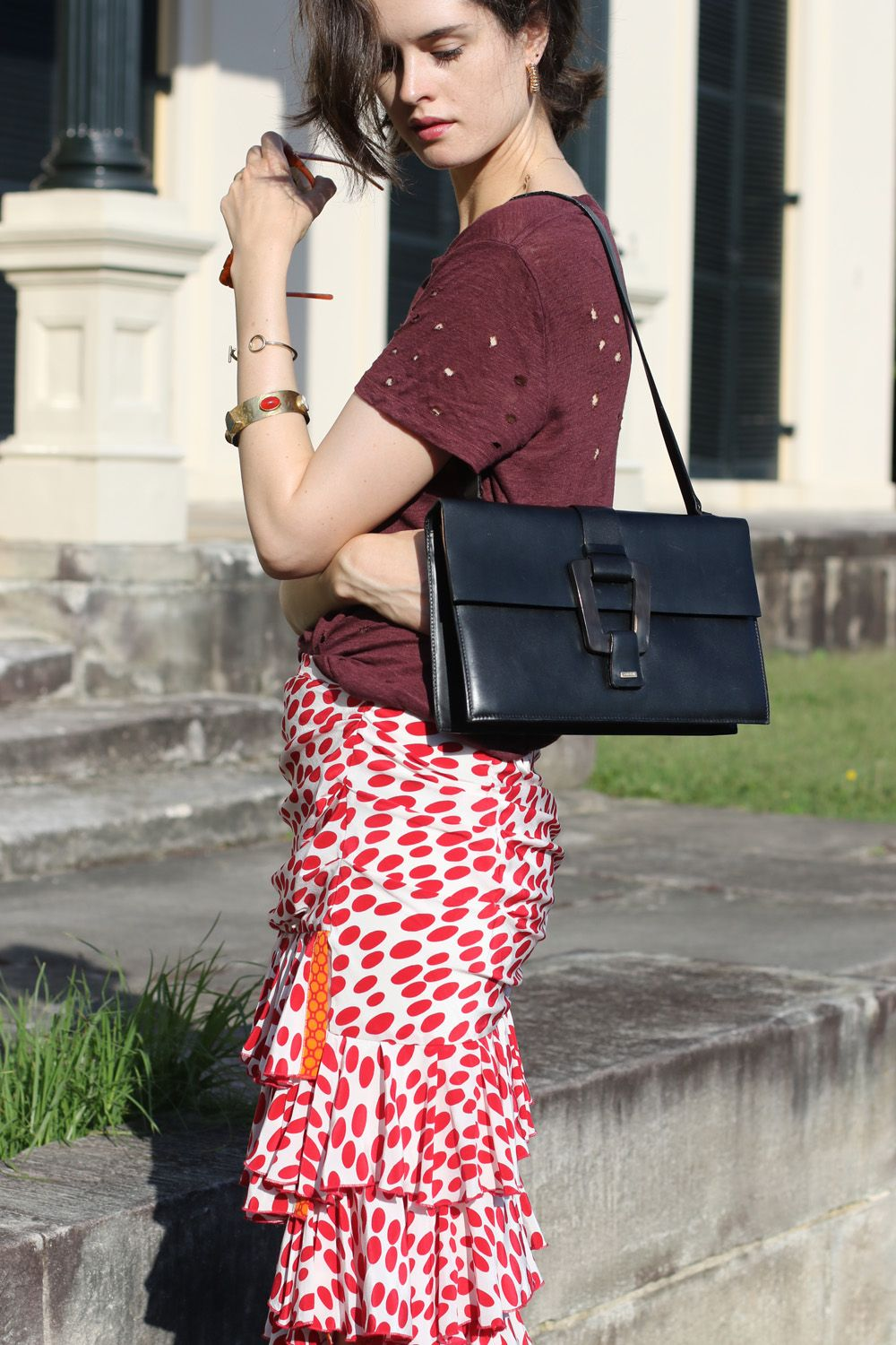Australian Fashion Blog - Chloe Hill in Iro Paris t-shirt and Easton Pearson red frilly skirt