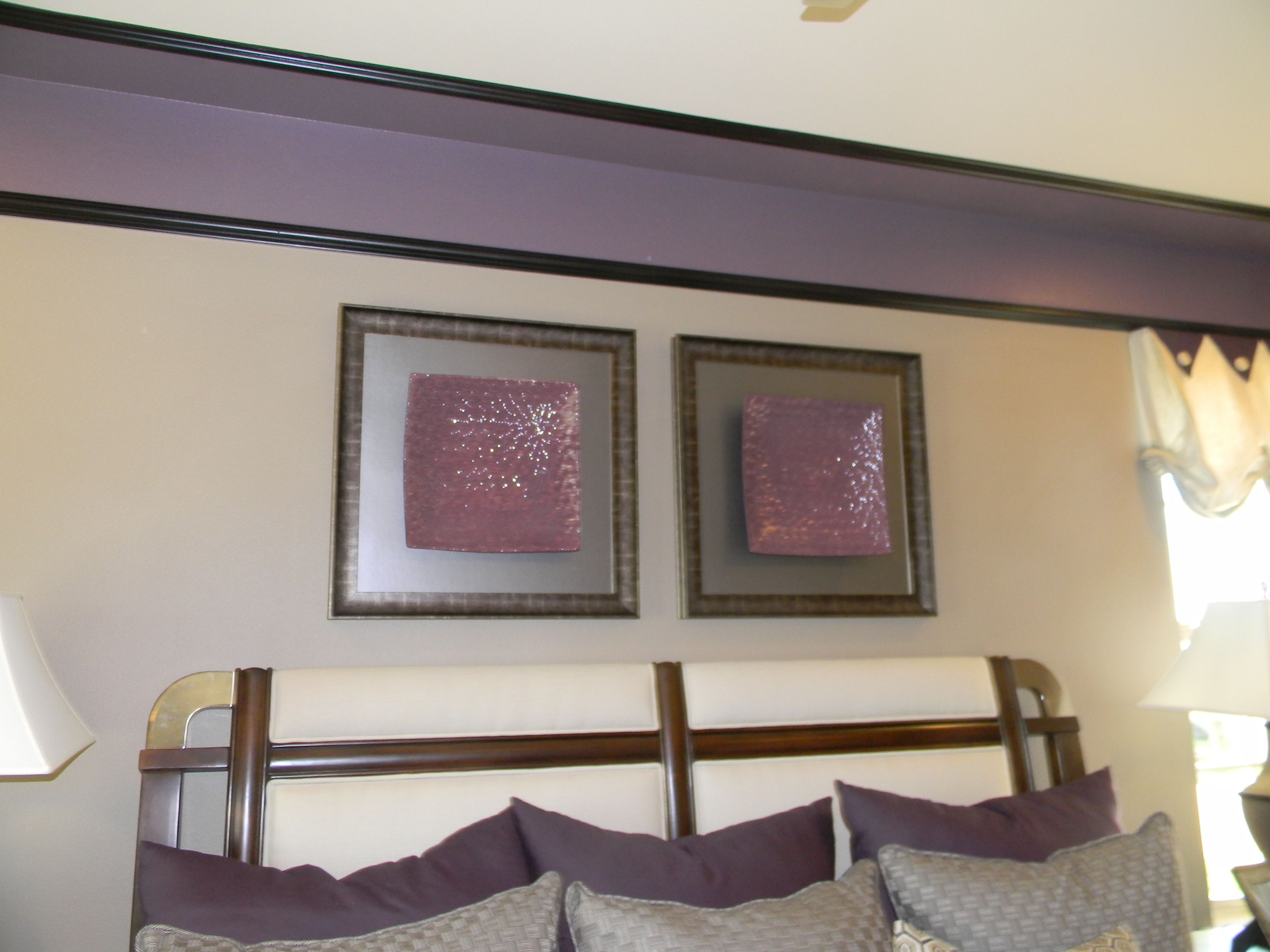love the molding & darker paint at the top of the walls being carried over onto the ceiling. very interesting!