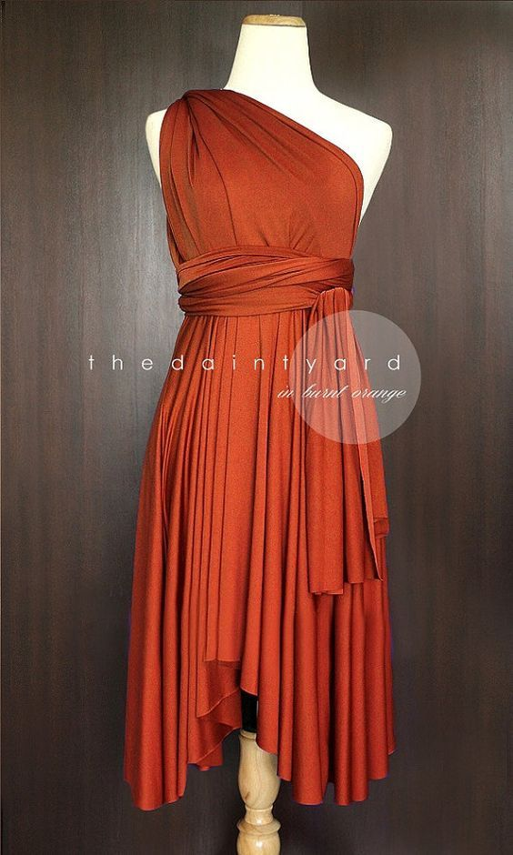 3873572f7a7 TDY Burnt Orange Short Asymmetrical Bridesmaid Dress Convertible ...