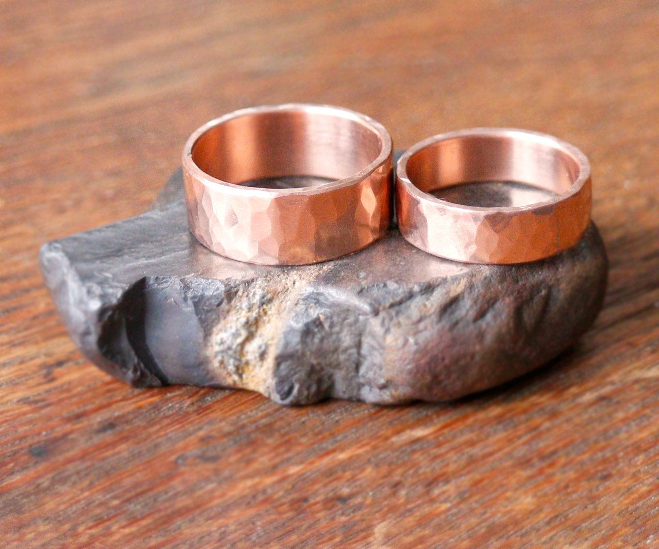 Wedding Ring Set His And Hers 7th Anniversary Forged And Hammered