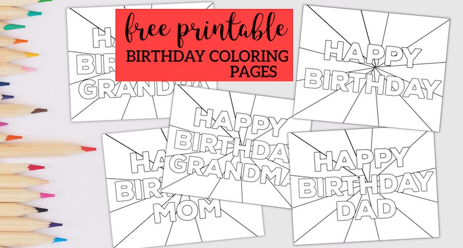 Free Printable Happy Birthday Coloring Pages in 2020 ...