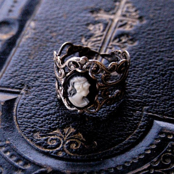 Black and White Lady Cameo Ring by ragtrader on Etsy, $17.00