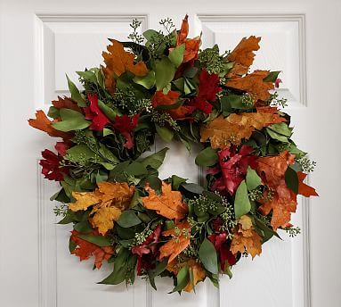 Dried Fall Leaves And Salal Wreath 20 Quot Potterybarn In 2020 Fall Leaf Wreaths Door Wreaths Diy Wreaths