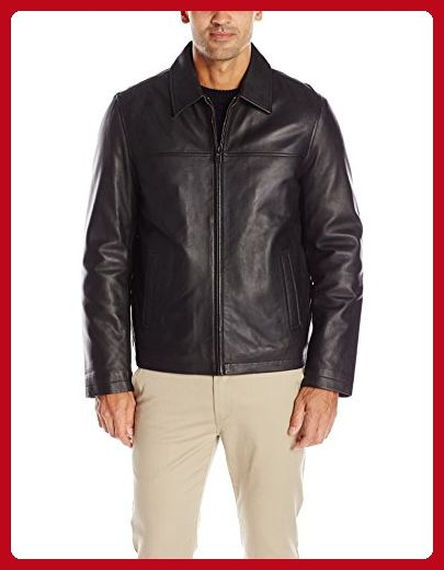 Dockers Mens Smooth Lamb Faux Leather Stand Collar Jacket with Full Faux Fur  Lining Black
