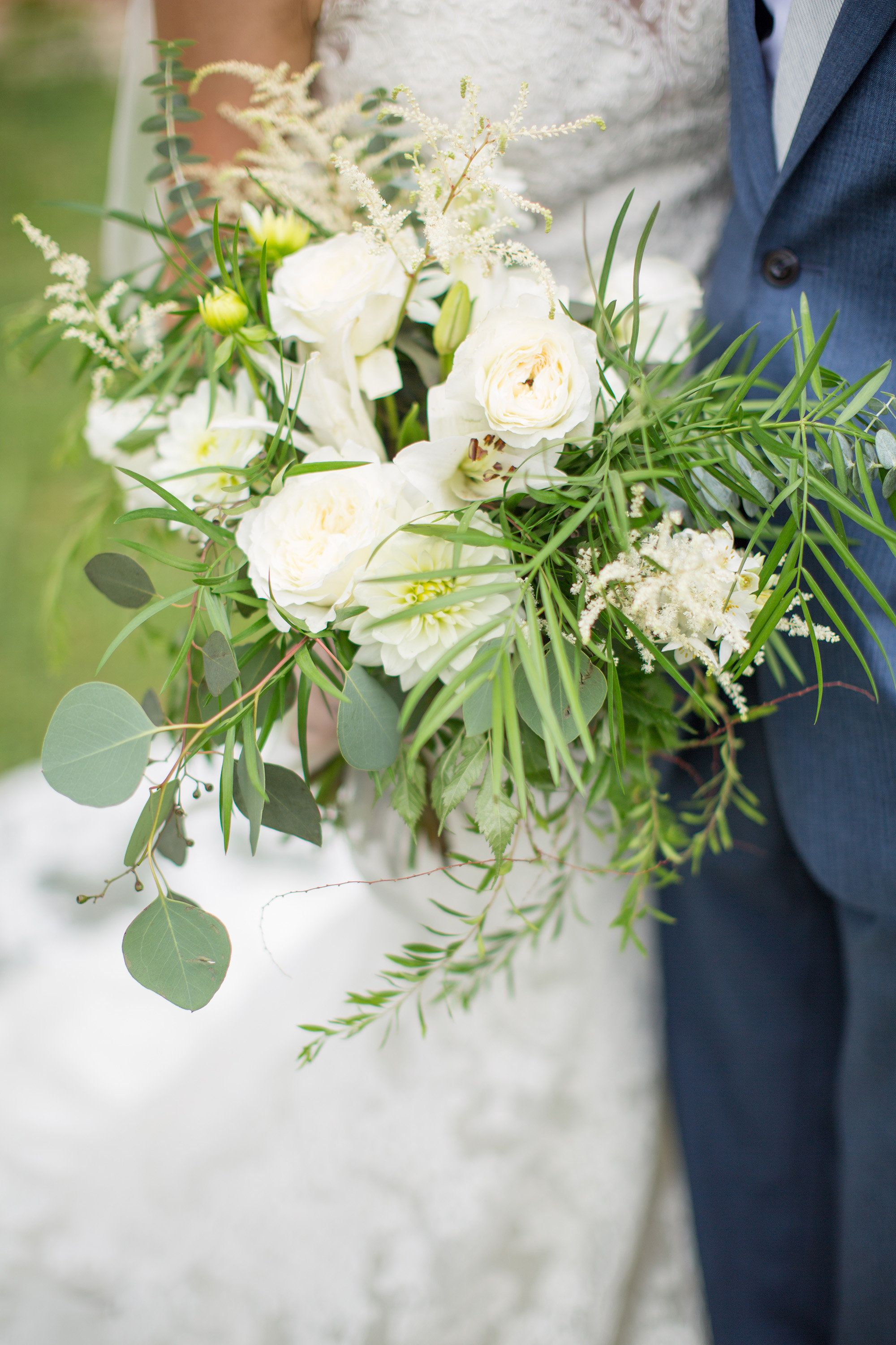 Simple Bridal Bouquet With Greenery And White Flowers Greenery