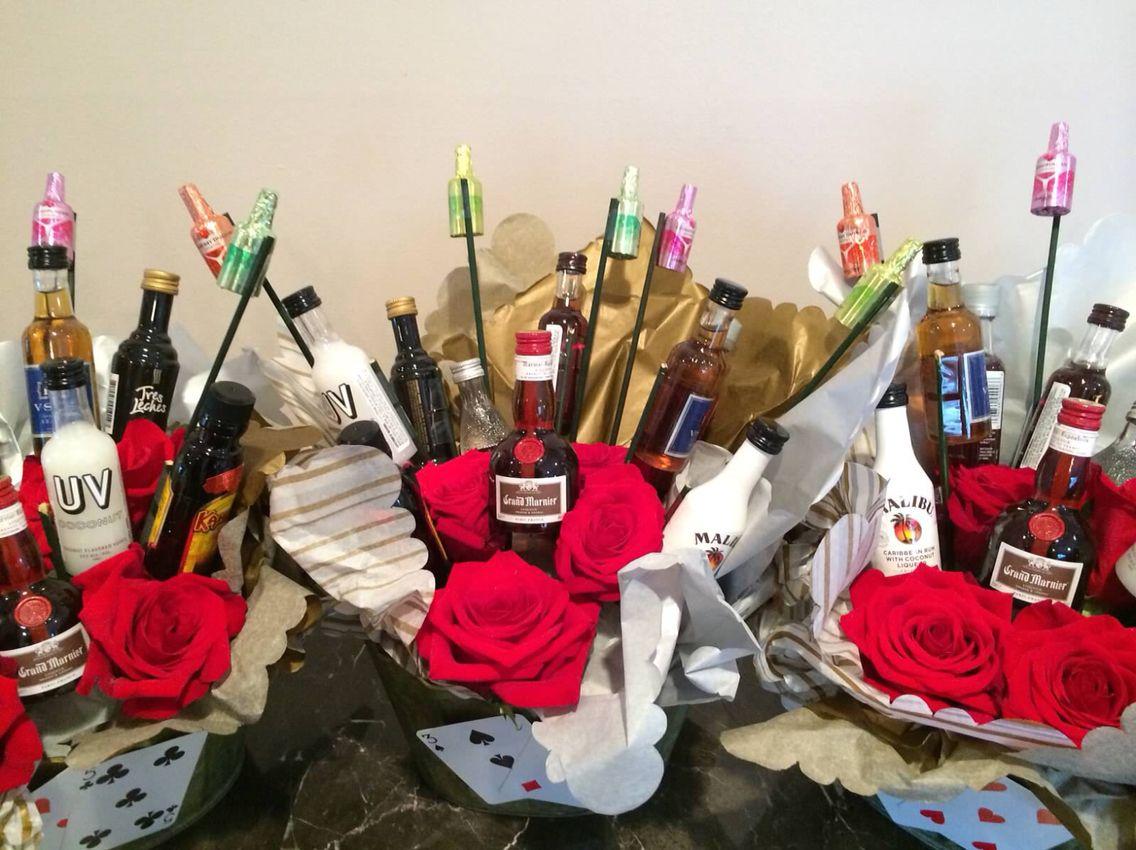 Centerpiece For Milestone Birthday Mini Alcohol Bottles