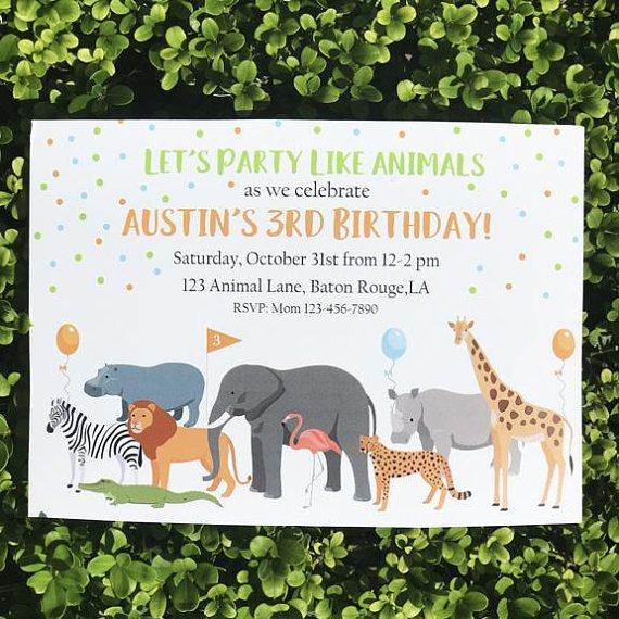 Animal Parade Invitation Printable Safari Jungle Zoo Jungle